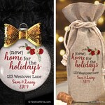 Personalized New Home For the Holidays Address First Christmas Ornamen or Wine Bottle Bag | Closing Gift | Housewarming | New Home Ornament