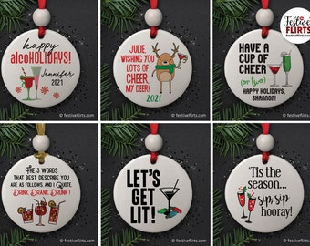 Alcohol Theme Ceramic Christmas Ornaments, Funny Drinking Gifts, Cocktail Cheers, Let's Get Lit, Martini Champagne Glass, Handmade Holiday