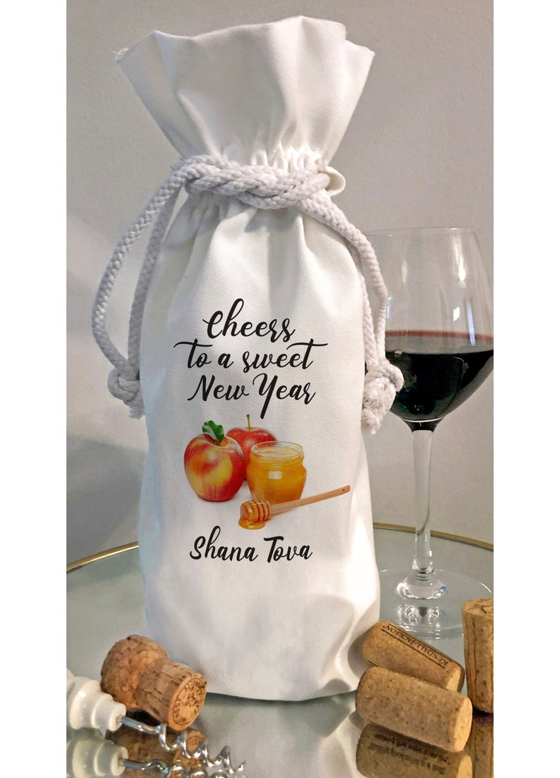 Cheers to a Sweet New Year Rosh Hashanah High Holiday Wine Bottle Bag