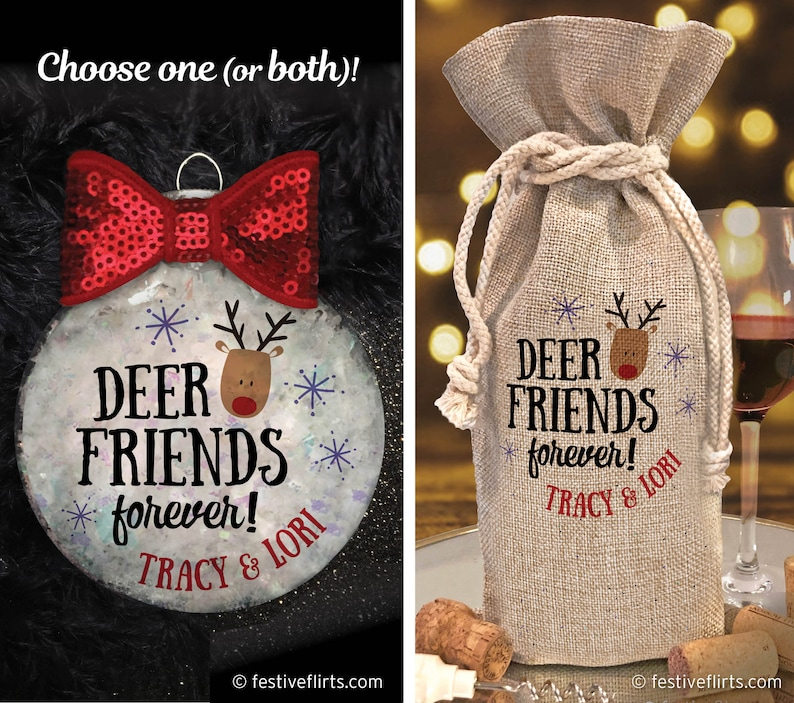 Personalized Deer Friends Forever Christmas Handmade Holiday image 0