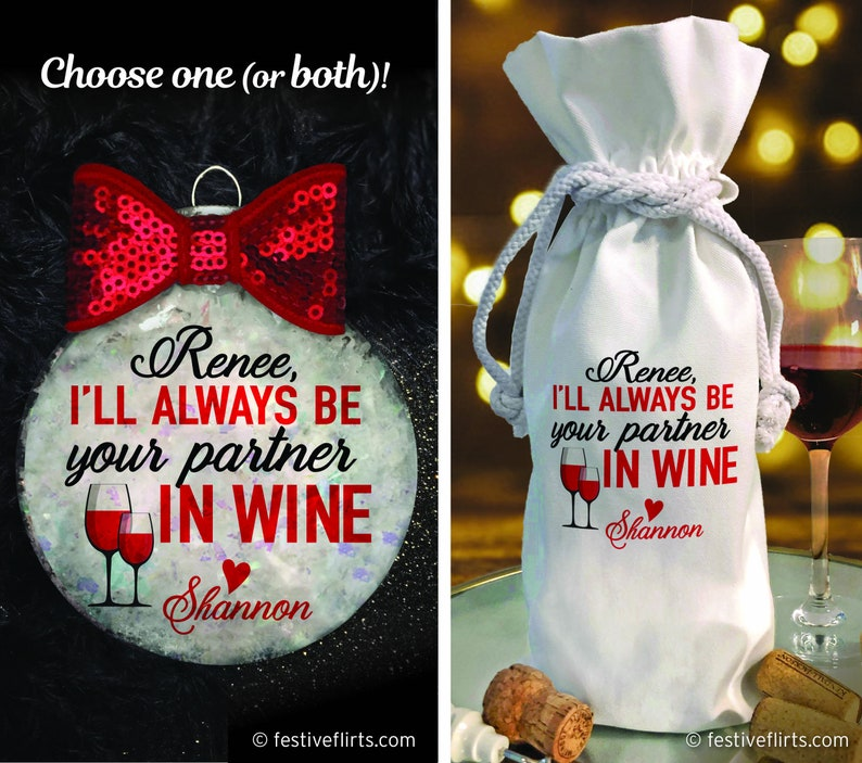 Personalized I'll Always Be Your Partner in Wine Glass image 0