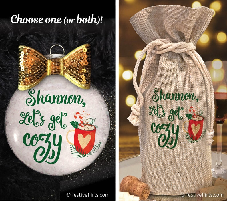 Personalized Let's Get Cozy Christmas Handmade Ornament  image 0