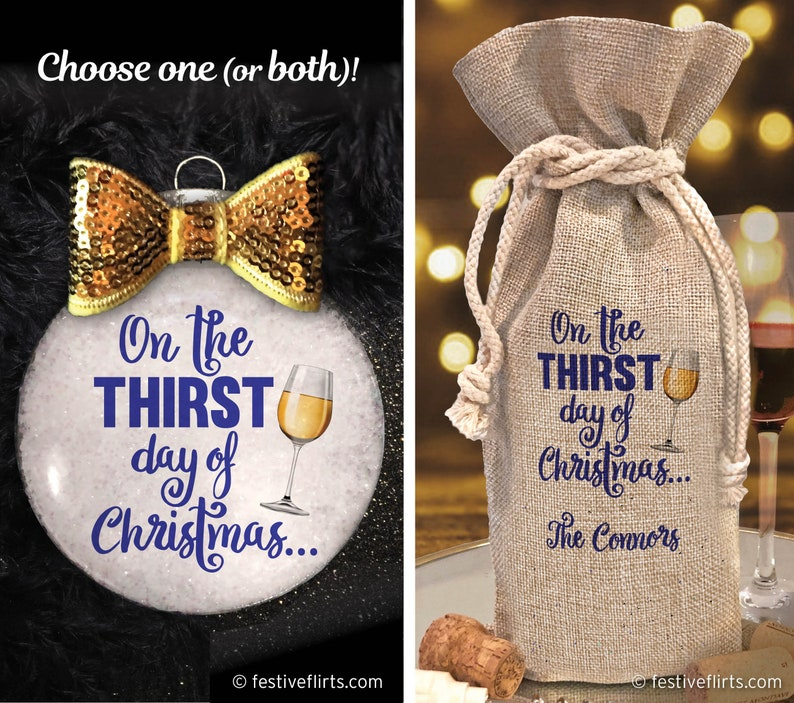 One the Thirst Day of Christmas Glass Ornament  Fabric Wine image 0