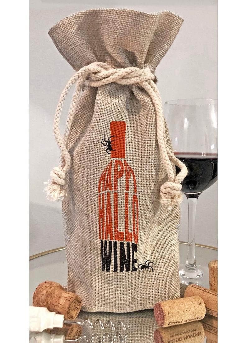Happy HalloWine Bottle Bag or Kitchen Dish Towel  Halloween Bottle Bag