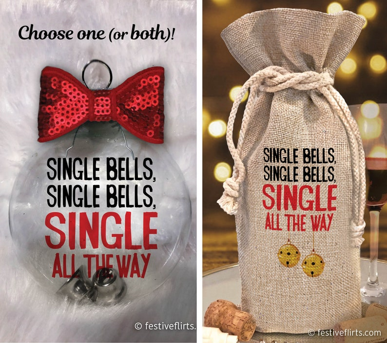 Single Bells Single All The Way Handmade Holiday Ornament Gift image 0
