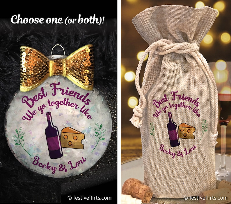 Personalized Best Friends Wine & Cheese Christmas Handmade image 0