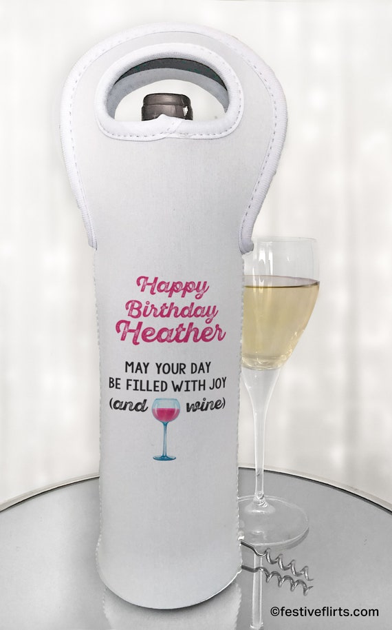 Personalised Happy Birthday Wine Champagne Bottle Gift Bag