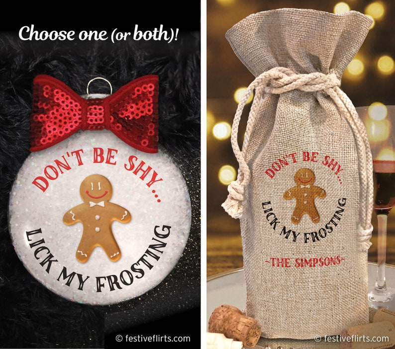 Don't Be Shy Lick My Frosting Handmade Naughty Ornament  image 0