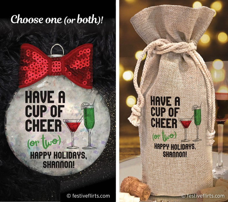 Personalized Have a Cup of Cheer or two Funny Christmas image 0