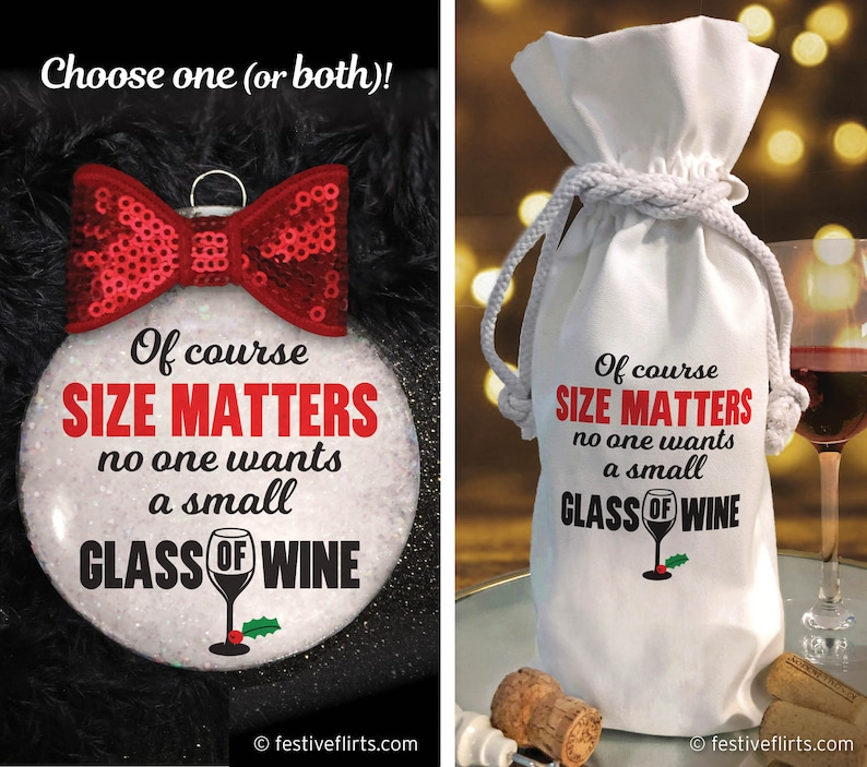 Size Matters Glass of Wine Christmas Handmade Ornament Gift  image 0