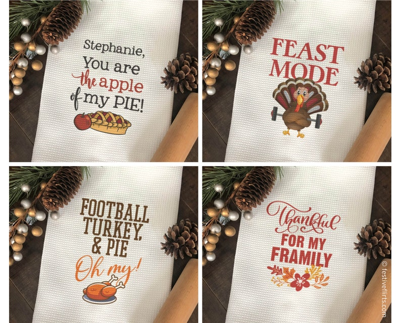 Funny Thanksgiving Decorative Kitchen Dish Towel  image 0