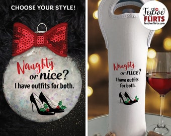Naughty or Nice Outfits Christmas Shoes Ornament or Insulated Wine Bag, Shoe Lover Fashion Heels Decor, Black Pumps, Gifts for Her