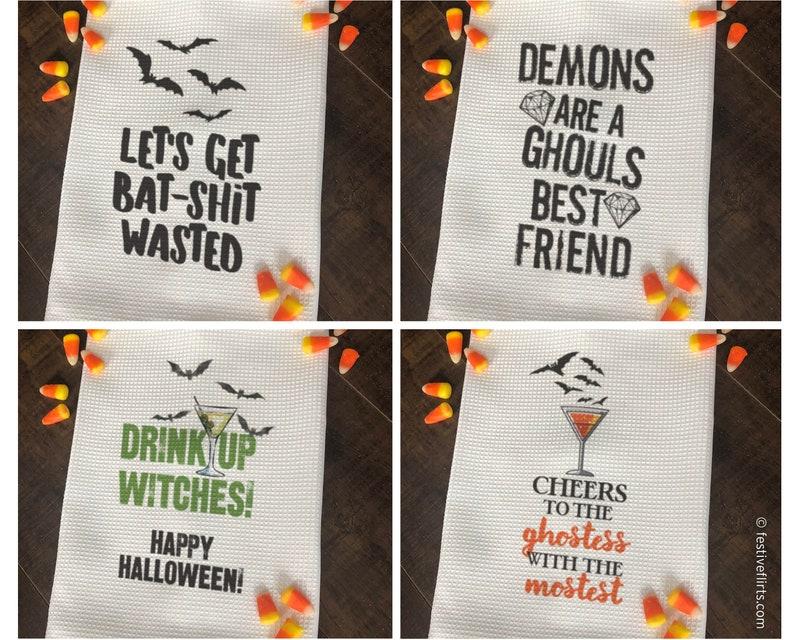 Funny Halloween Decorative Kitchen Dish Towel  Halloween Tea image 0