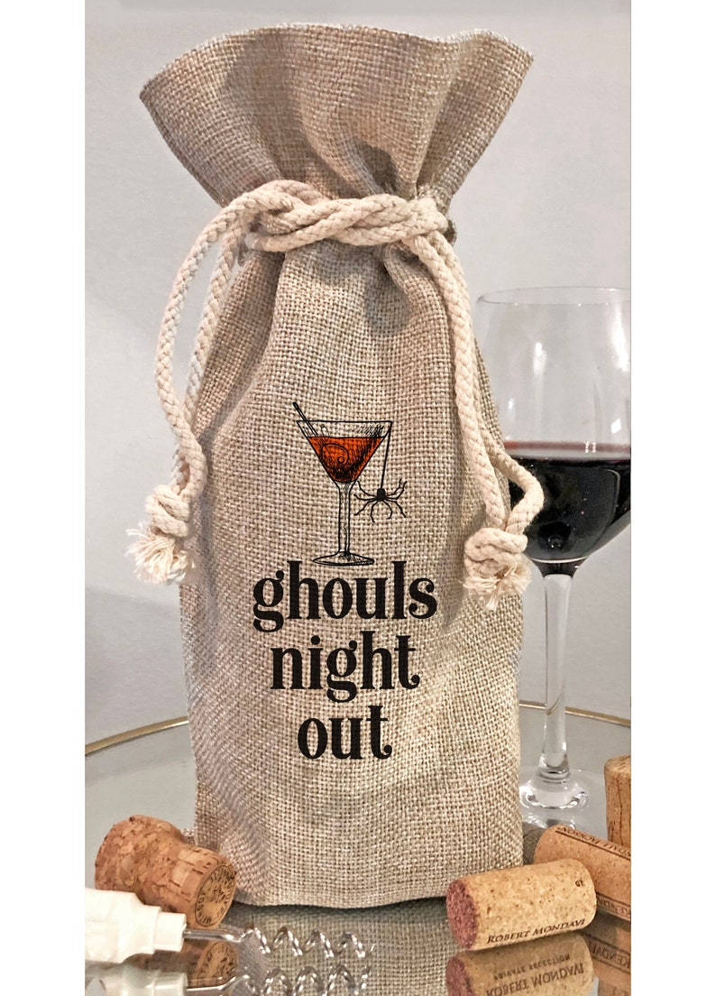 Halloween Ghouls Night Out Wine Bottle Bag or Kitchen Tea Bottle Bag