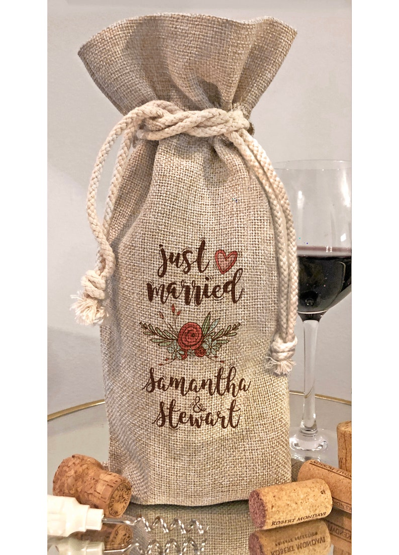 Personalized Just Married Custom Wine Bottle Gift Bag   image 0