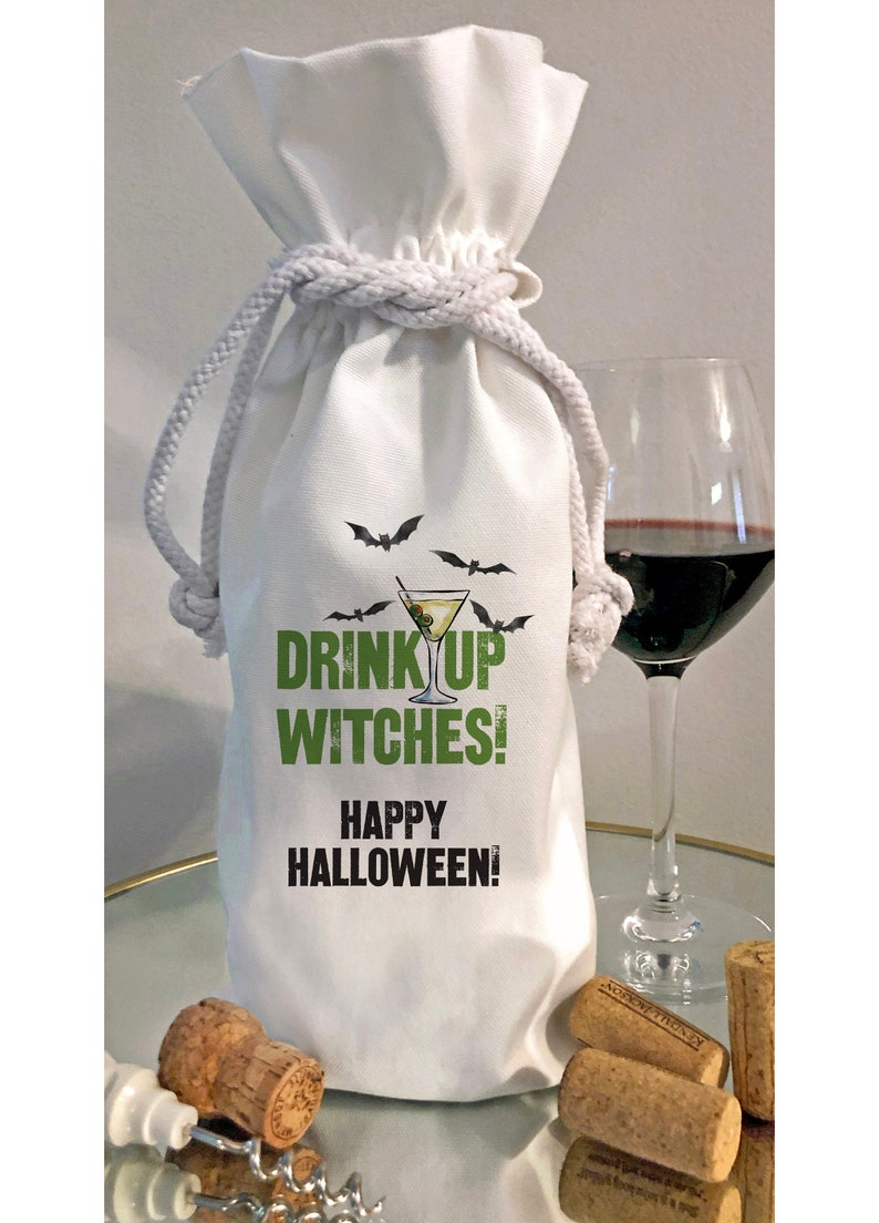 Happy Halloween Drink Up Witches Bottle Tote or Kitchen Dish Bottle Bag