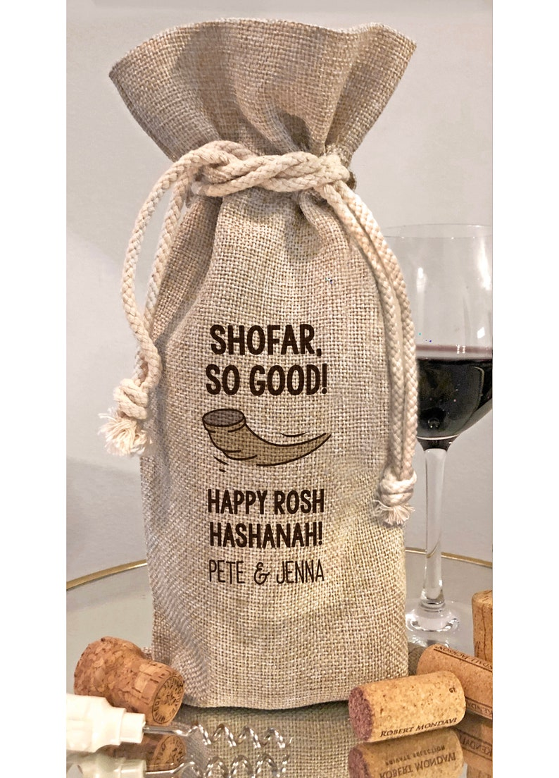 Personalized Rosh Hashanah Shofar So Good Wine Gift Bag / Bottle Bag