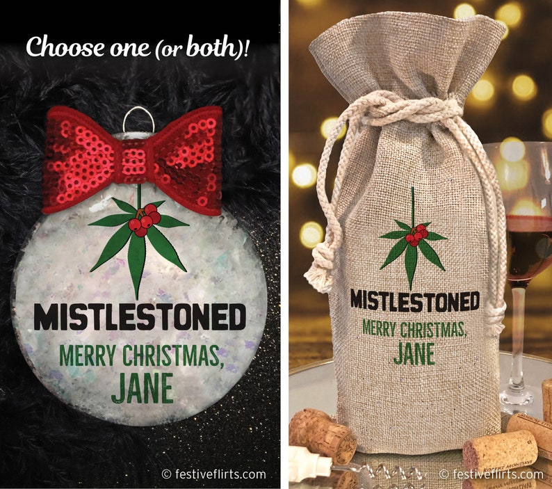 Personalized Mistlestoned Christmas Ornament or Bottle Bag  image 0