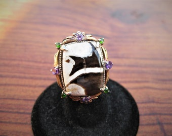 Peanut Wood Jasper (20x15mm) Cabochon Sterling Silver Ring w/Amethyst & Chrome Diopside Gems and Gold and Platinum Overlay Size 5, No. 124.