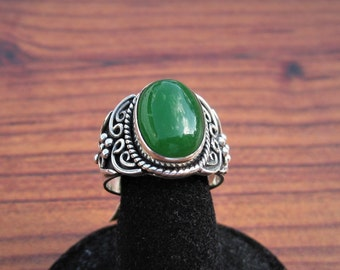 Green Jade (14x10mm, 7.23ct) Stone Cabochon Sterling Silver Ring Size 8, Item #1812.