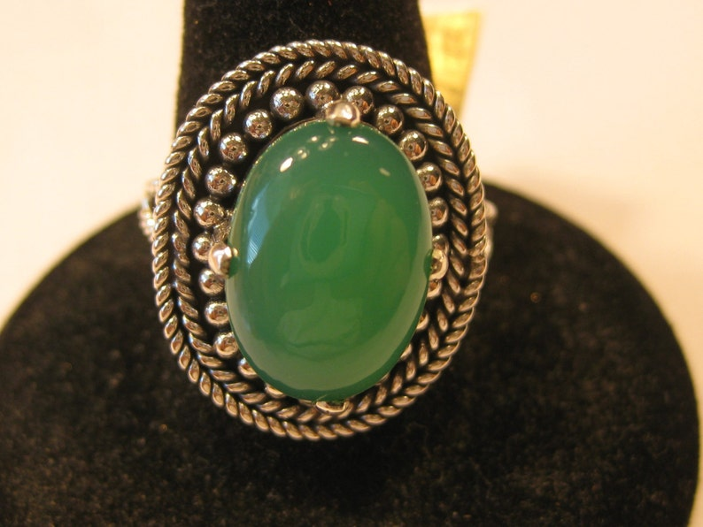 Chrysoprase  14x10mm 5.5ct Stone Cabochon Sterling Silver image 0
