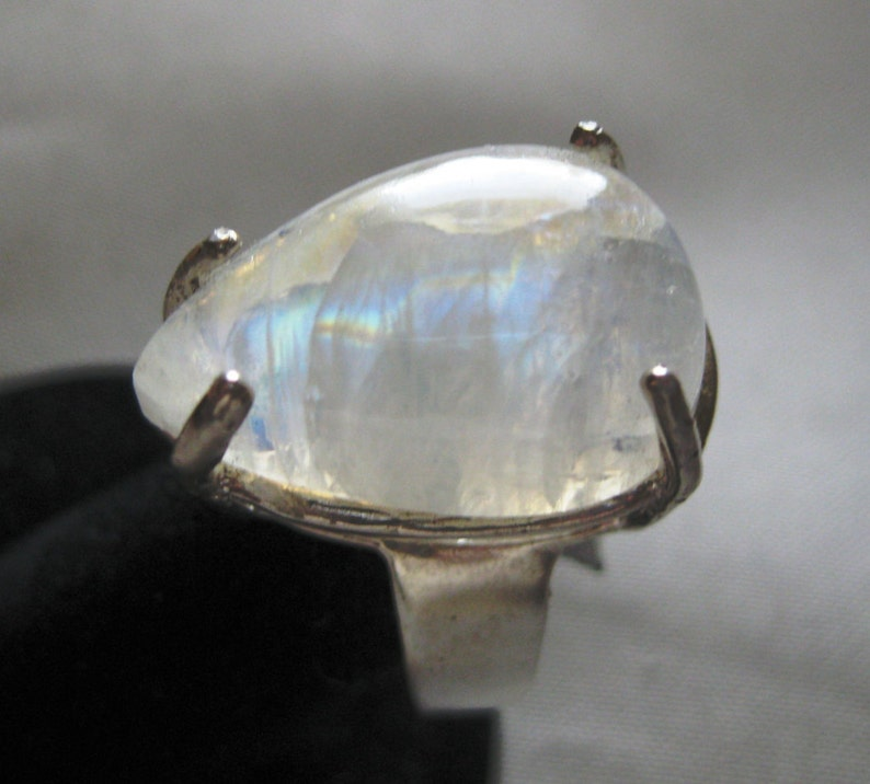 Rainbow Moonstone 23x15mm 20ctw Teardrop Cabochon  Sterling image 0