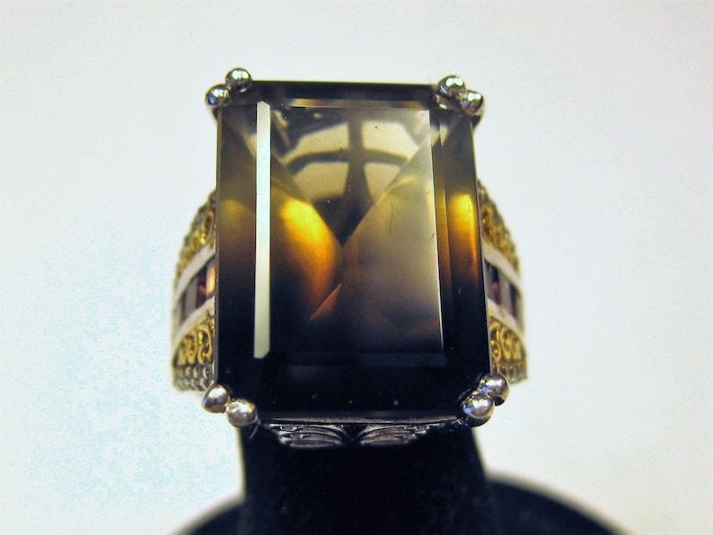 Bicolor Smoky Quartz 18x13mm with Rhodolite Garnet and Topaz image 0