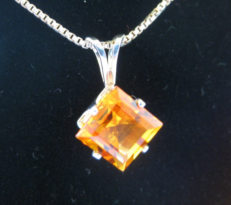 Madeira Citrine Gemstone Sterling Silver Pendant Wth Chain image 0