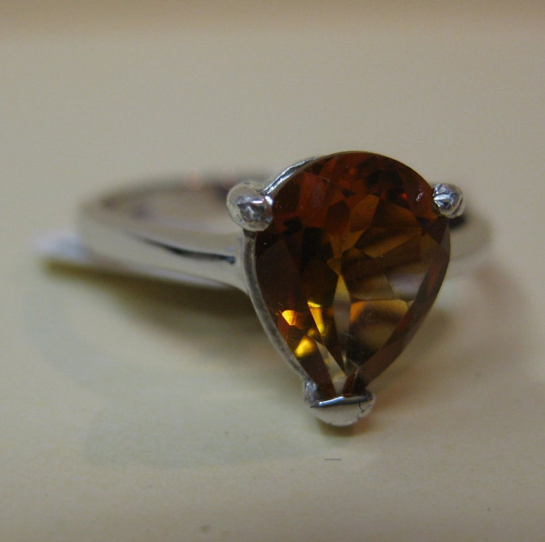 Madeira Citrine Sterling Silver Ring Size 7.75 No. 311. image 0