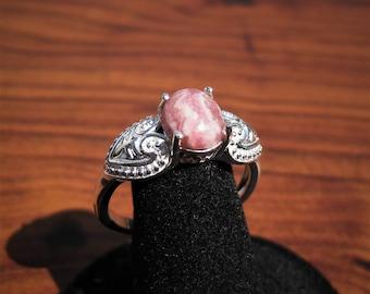 Rhodochrosite (10x8mm) Stone Cabochon Sterling Silver Ring Size 11, No. 1825.