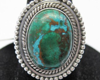 Chrysocolla (16x12mm) Stone Cabochon Sterling Silver Ring Size 7, No. 1437