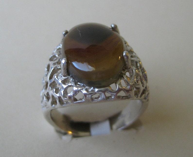 Botswana Agate 18x13mm Sterling Silver Ring Size 10 No. 92 image 0