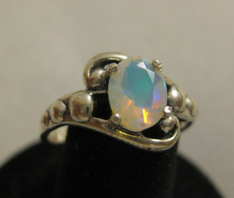Opal Faceted 8x6mm Sterling Silver Ring Size 8 No. 745 image 1