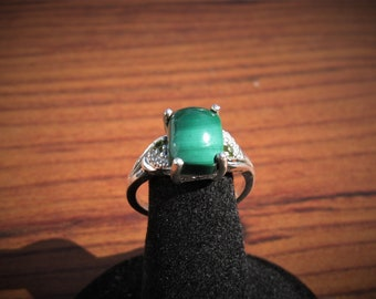 Malachite (10x8mm) Cushion Cut Stone Cabochon Sterling Silver Ring with Green CZ Accents & Platinum Overlay, Size 8, Item #1817.