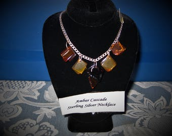 Amber Cascade Sterling Silver 18 inch Necklace, Item #851.