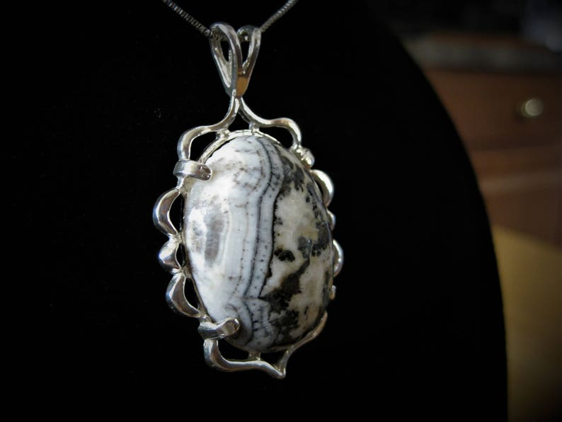 Dendritic Agate Cabochon set in Sterling Silver Pendant Chain image 0