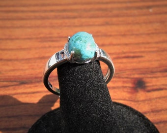 Kingman Turquoise (10x8mm) Stone Cabochon Sterling Silver Ring with White Topaz Baguette Gemstones Size 10, Item #1813.