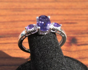 Amethyst Tri-Stone (1.30ctw) Sterling Silver Ring Size 10, Item #1818.