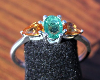 Emerald (6x4mm) with Orange Sapphires Sterling Silver Ring Size 9, No. 1636.