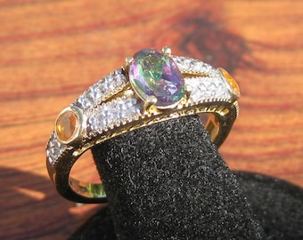 Green Mystic Quartz (8x6mm) Gemstone with White Topaz & Fire Opal and Yellow Gold Overlay Sterling Silver Ring Size 10.25, Item #1532