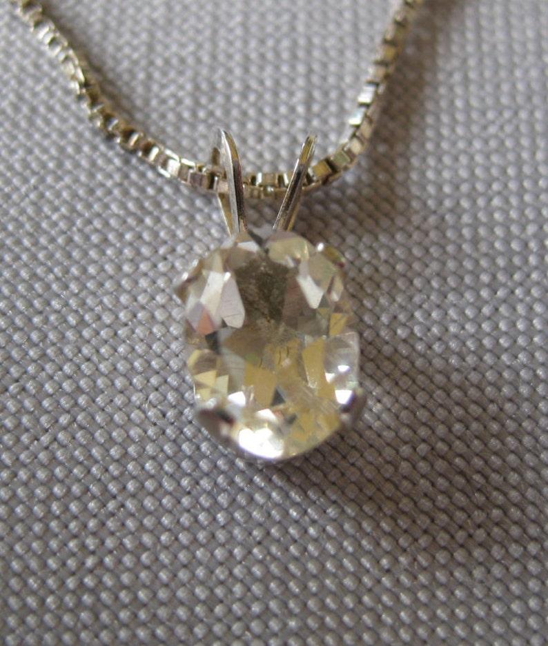Yellow Labradorite Gemstone set in Sterling Silver Pendant image 0