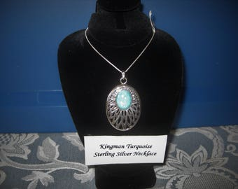 """Southwestern Style Kingman Turquoise Sterling Silver Pendant with 18"""" Chain, No. 546."""