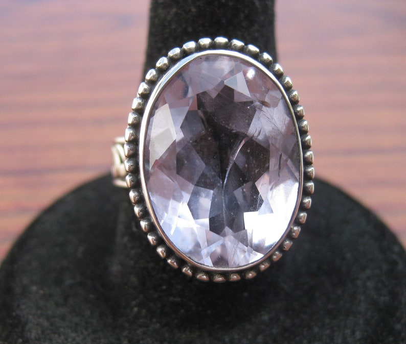Amethyst 18x14mm Faceted Gemstone Sterling Silver Ring Size image 0