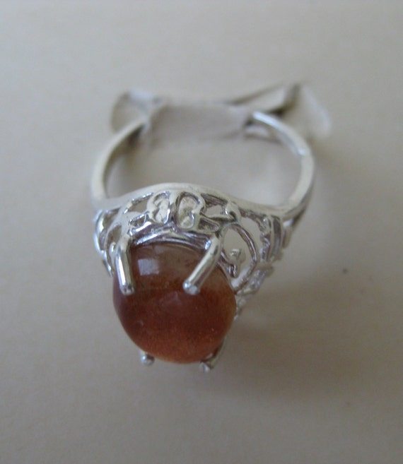 Handmade Jewelry Black Sunstone Sterling Silver Overlay Ring Size 7.5 US Delicate