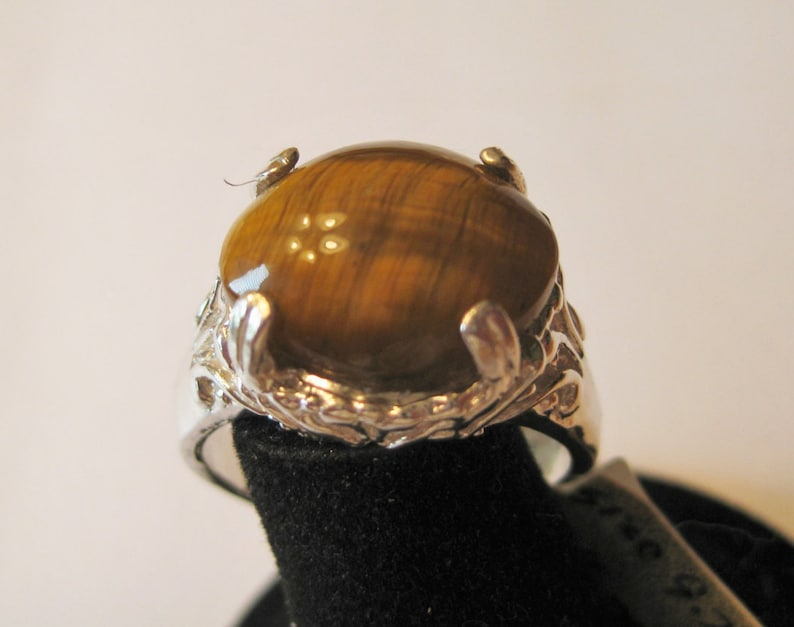 Tiger's Eye 15x12.3mm Cabochon Sterling Silver Ring Size image 0