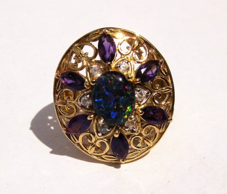 Opal Triplet Cabochon with Faceted Zircon and Amethyst image 1