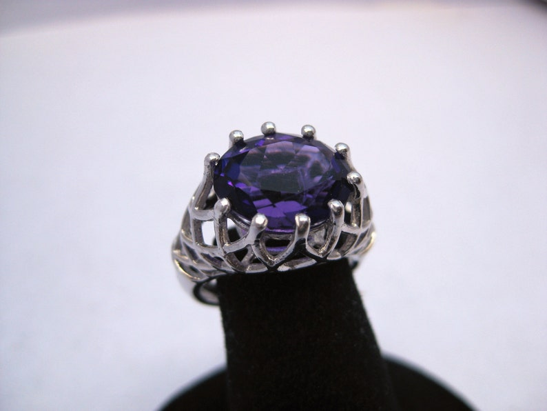Amethyst 12x10mm Faceted Gemstone Sterling Silver Ring with image 0