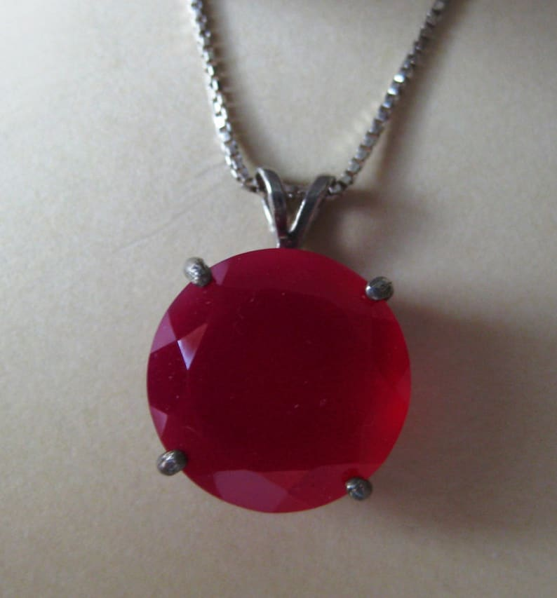 Red Chalcedony 14mm Round Gemstone Sterling Silver Pendant image 0