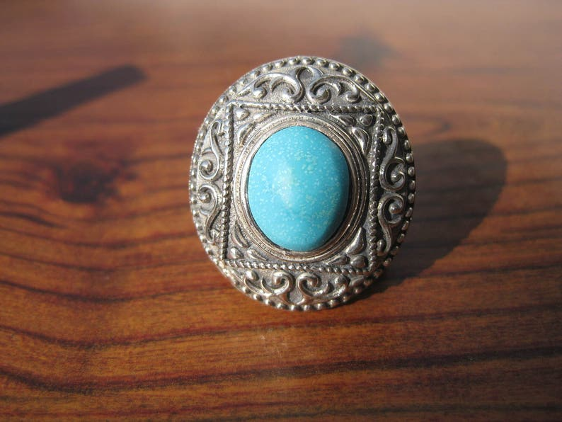 Turquoise 10x12mm Stone Cabochon Sterling Silver Ring Size image 1