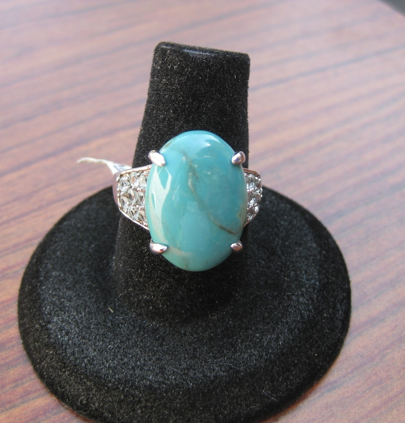 Stone Cabochon Sterling Silver Ring with Blue Apatite Gemstones Size 7 Turquoise Item #180 18x13mm